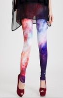 East Knitting Free Shipping FH-083 Fashion Women Tights Galaxy Leggings Tie Dye Leggings Space Print Pants Plus Size XS-M L-XL