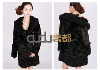 Женская куртка QD20099 2012 Winter Woman Genuine Mogolian Sheep Fur Coat long cloth/Retail/in stock/female