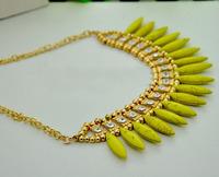 Колье-ошейник Hot Selling National Trendy Fashion Bohemian Imitation Turquoise Charm Choker Necklace With Rhinestone RuYiXLX001