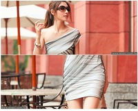 Одежда и Аксессуары Clipping nets yarn/inclined shoulder dress/evening dress / women's dress/3 kinds of color/RG7053