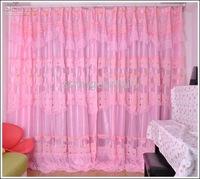"SUPER-WIDE LACE CURTAINS DRAPES FOR WINDOWS PINK 118""W X108""L"