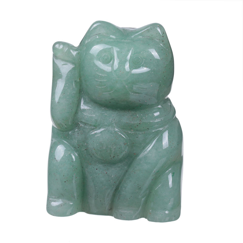 Green Aventurine fortune lucky cat figurines/carved stone birds