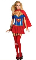 New arrive! women blue Superman cosplay, sexy classic Halloween costomes, warrior cotumes, fancy dress BLS316