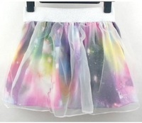 Женская юбка New Fashion Elegant Sexy Womens Gauze Cosmic Galaxy Print TuTu Skirt A2764