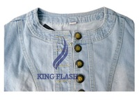 Free shipping New Round Neck Waist High half Sleeve Denim Short Casual Jean Coat Jacket outerwear 5629