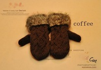 Женские перчатки G twist/lovely lady winter pure manual weaving upset warm feather fashion hang neck wool gloves