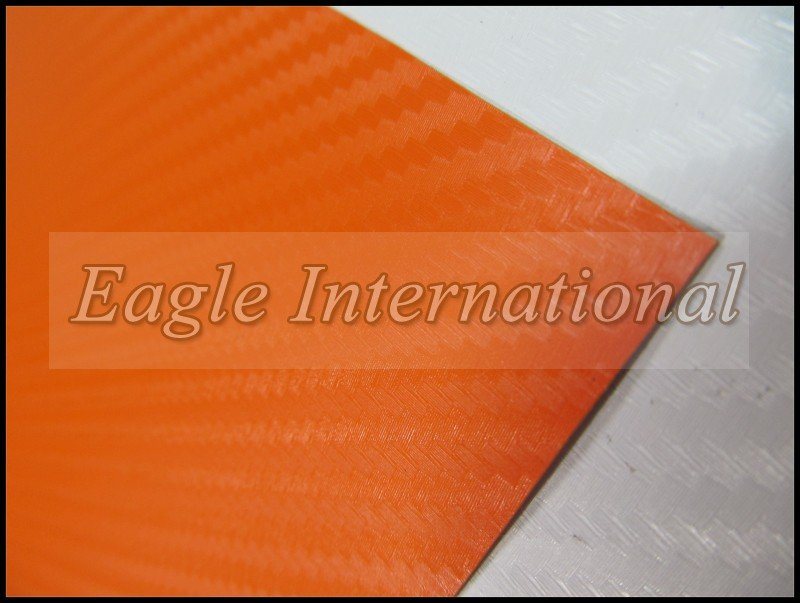 3D Carbon Fiber Vinyl Film Wrap Orange Car Sticker with Air Drains Carbon Sheet High Quality Retail 1.52 x 5m Free Shipping