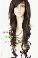new women's lady sexy long full curl/curly/wavy hair wigs fashion cosplay party black/dark brown/light brown/flaxen kariss