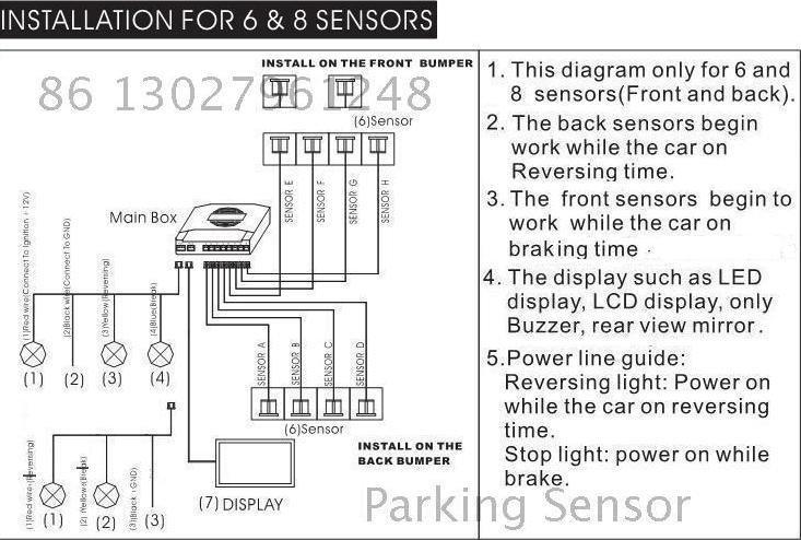 Схема подключения 8 парктроника