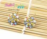 Серьги висячие Delicate Crystal Flower Shell Small Earring Celebrity Style Women Golden Plated Chain Jewelry