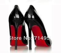 Новый стиль, большой размер, красный дно с черной лакированной кожи ol на высоких каблуках