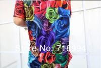 мода нового женщин/мужчин 3d смешные Роза цветы короткий рукав футболки два боковых печати 3d топ Футболка хорошего качества