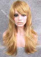 "Парик DHL Free 24"" Long 4-color Mix Natural Straight Synthetic Lace Front Wig With Bang Quality Heavy Density Heat Safe Lace Wig S10"