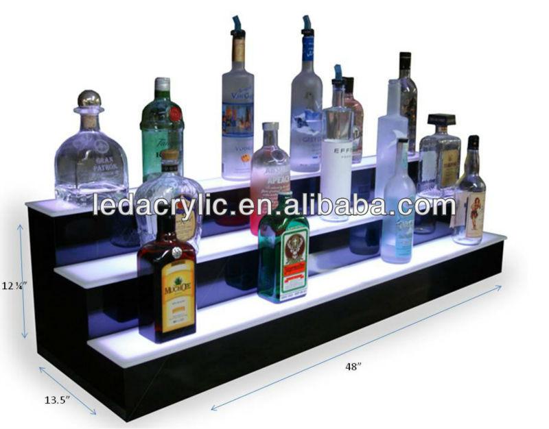 34 Inch 2 Tier Liquor Bottle Shelf Black Bar Alcohol
