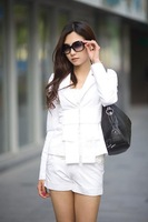 Женский брючный костюм White fashion bow slim long sleeve lady suit LM1615