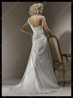 Свадебное платье Hot- Sale! Sweetheart One shoulder Sweep-Train Satin Wedding Dress MS-A014
