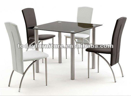 Templado de vidrio mesa de comedor y silla de cuero comedor mesas ...