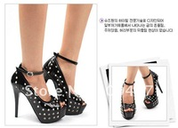 2012 new women high heels shoes  fashion sweet wild black waterproof fish head round wedding shoes club shoes