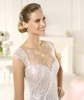 Mermaid Backless V-Neck Silk Elie Saab Wedding Dresses With Luxury Beaded Bride Dress Customized 2014 New Design Free Shipping