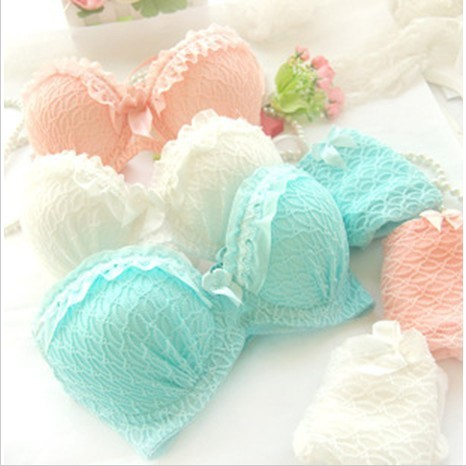 Free shipping 2014 new arrival, candy-colored lace push up sexy bra set, white, blue, pink brassiere & bra brief sets 01