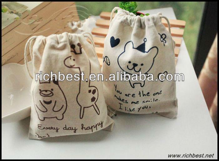 custom mini linen drawstring bag