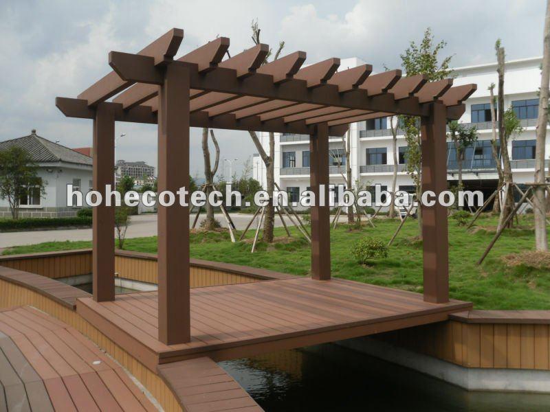 gazebo jardim madeira:Plástico de madeira composta pergola/pérgola do jardim ao ar livre