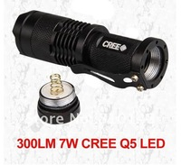 20Pieces/lot CPAM CREE Q5 LED Zoomable 700lm Torch Flashlight Light 7W
