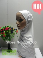 Аксессуар для волос LRD12171 hot sale white islamic headgears with falbala and flower appique in assorted colors for