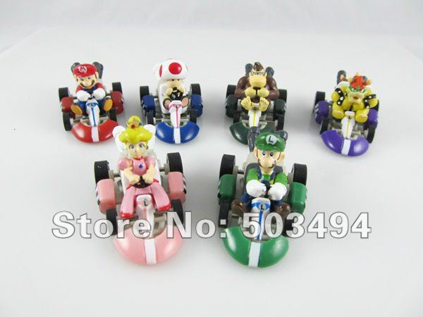 Retail 1 set Super Mario Bros Car Toy Full Set 6 pcs Super Mario Bros. Kart  PULL BACK Cars Figures super mario kart figure