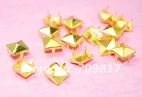 Клепки для одежды 8mm Pyramid Studs golden Punk Rock DIY Rivets Nailheads Spike For Clothing Bags Shoes / 1000pcs/lot GZ005-8G CP