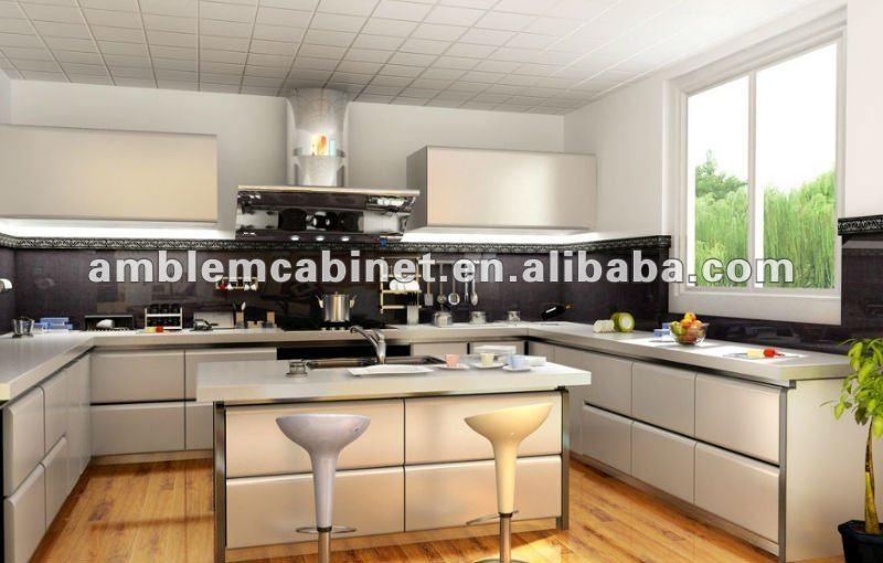 Design moderne laque mixte bois placage d 39 armoires de for Peinture d armoire de cuisine