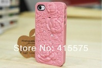 Чехол для для мобильных телефонов 3D Engraved Rose Flower Hard Case For IPhone 4S/4GS With Retailing Package White/Pink/Black 3 colors choose