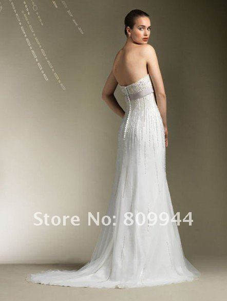 W1497 Dropshipping Organza Beaded Sheath Custom Wedding Dress