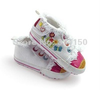 Пинетки Embroidery flower shoes toddler girls casual shoes first walkers girls antiskid shoes personality style 1pcs/lot