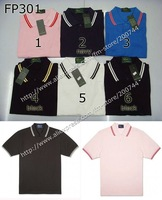 Футболка 10 pcs/lot Men's short sleeve 6 colors white with double black stripe perry