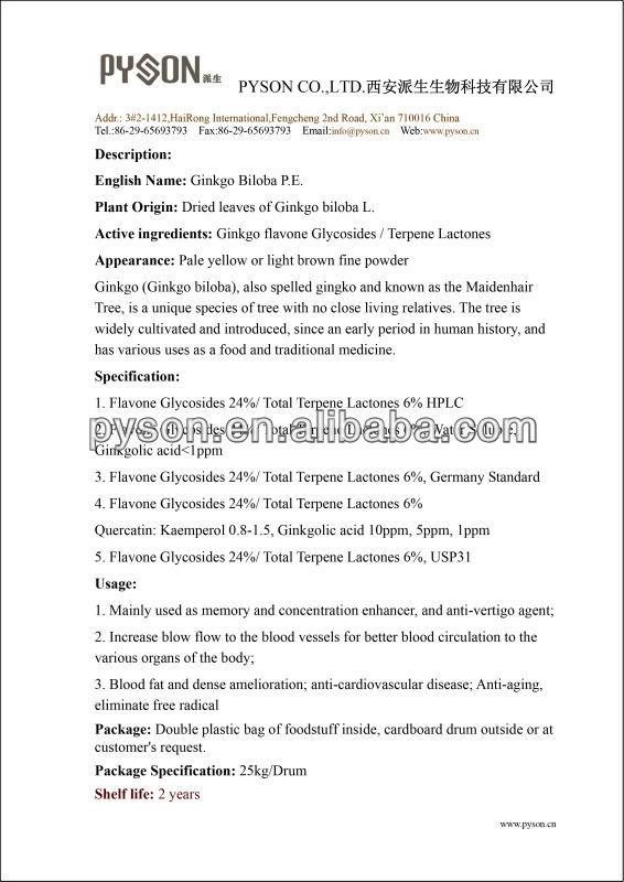 High quality Ginkgo Biloba P.E,Ginkgo flavone Glycosides 24%/Terpene Lactones 6%