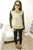 NEW SNOWFLAKE COTTON PATCHWORK LEATHER WAS THIN ROUND NECK LONG-SLEEVED T-SHIRT BOTTOMING SHIRT WF-4404