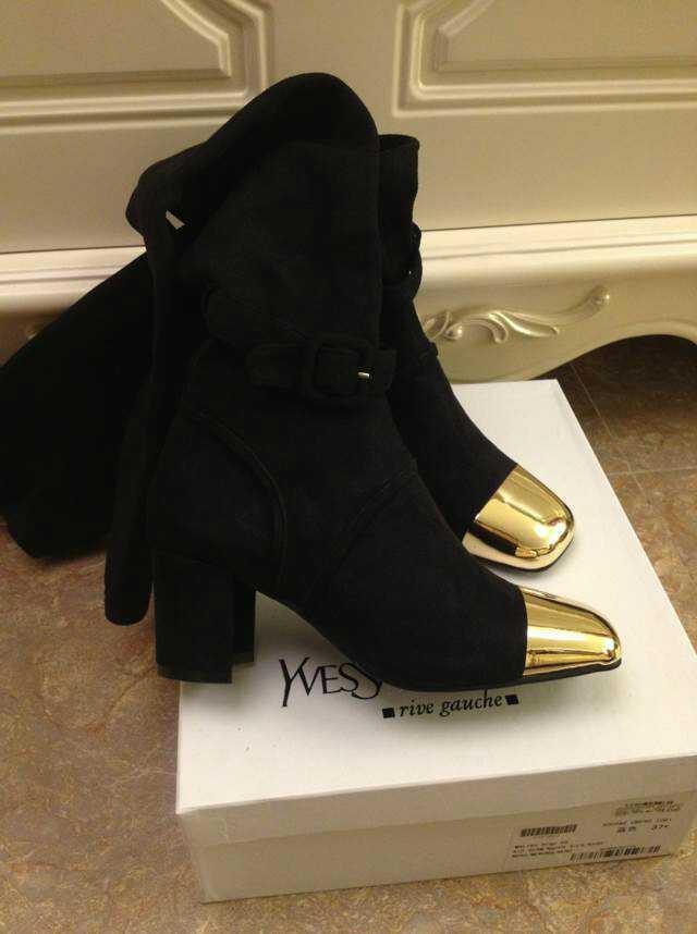 Женские ботинки Autumn Winter New women Thick heel boots Over The Knee Boots Scrub Upper Stretch Fabric Flock Slim Were thin Knee Boots Jackboot