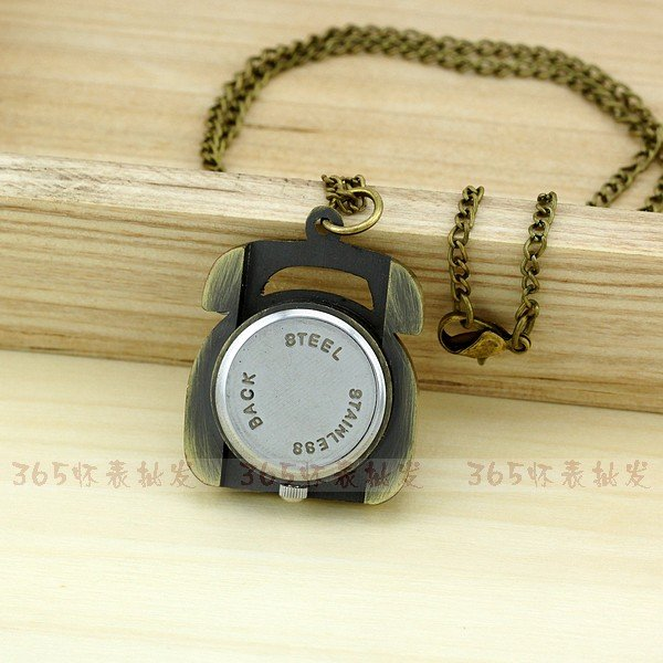 Bronze Tone Telephone Women Girls Mens Quartz Pocket Watch Gift For Xmas Gift P176