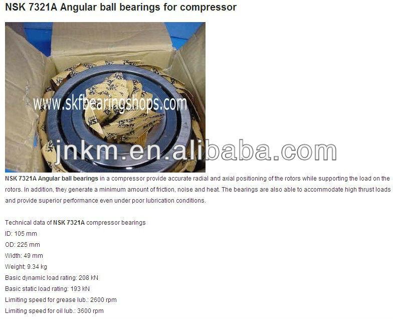 Hot sale Angualr Contact Ball Bearing 7321c