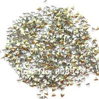 Стразы для ногтей Lt. Gold Color 2.5MM 1000pcs triangle metal 3D nail art decorations rhinestones Sticker Tips nail supplies