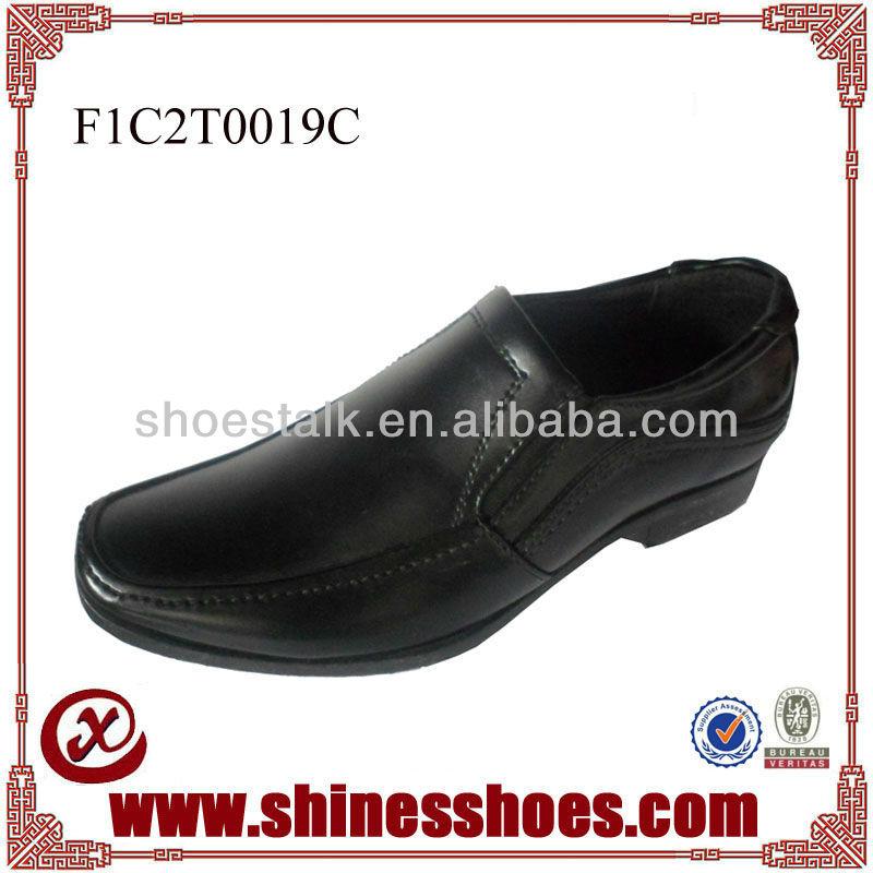 Black slip-on steel toe men dress shoes