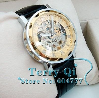 Hot! Mens Face Automatic Luxury Steel Wrist Watch Skeleton men's Mechanical watch Free Ship