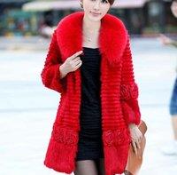 Женская куртка EMS ] Ladies Fashion Rabbit Fur Grow Jacket / Fur Coat With Fox Fur Collar 5 Color