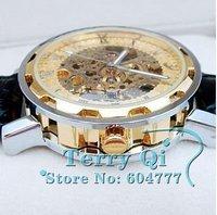 мужские лица автоматического роскошного стали наручные часы скелет мужские механические часы лучший Рождественский подарок бесплатно корабль