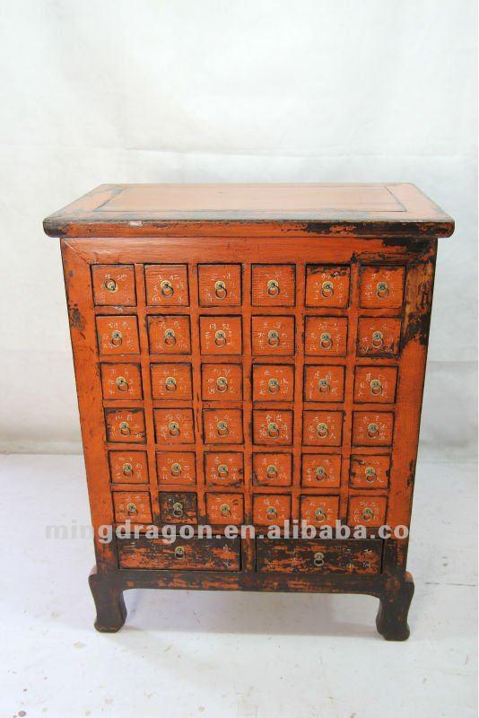 Chino muebles antiguos de madera de pino de color naranja - Muebles antiguos de madera ...