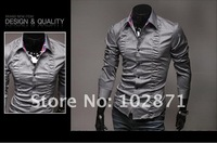 2013 new Mens Casual Slim Fit Stylish Fold design long-sleeve Dress Shirts
