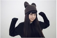 Free shipping (10pieces/lot) Korean version 2012 novel cat ear knitted cap men and women demon Angle line hats