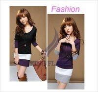 2012 fashion Women's Long Sleeve T-Shirts Ladies Top Wear Lady Clothes O-Neck Tops Blouse Mini Dress