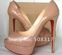 Туфли на высоком каблуке Classique Beige Patent Leather Lady Peep toe 150mm Platform Heels Pump Shoes @094